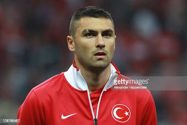 Burak Yilmaz of Turkey pose at the line up prior the UEFA EURO 2012 Group A qualifying match between Turkey and Germany at Tuerk Telekom Arena on...