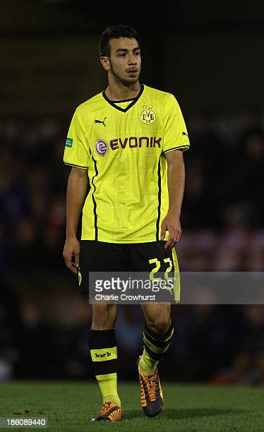 Bural Camoglu of Borussia Dortmund during the UEFA Youth League match between Arsenal U19 and Borussia Dortmund U19 at Meadow Park on October 23 2013...