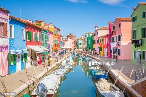 canal Isola di Burano scena, Italia