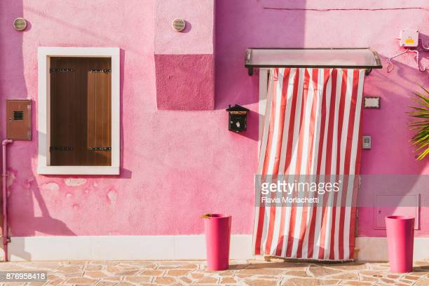 Burano island's pink building