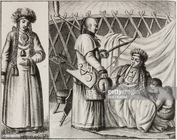 Burat woman Burats in the hut Russia lithograph from Galleria universale di tutti i popoli del mondo ossia storia dei costumi religioni riti governi...