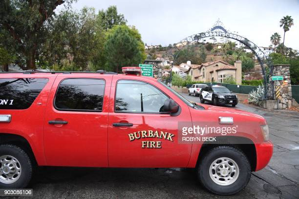 Burbank Fire and Police department restrict access to a neighborhood under mandatory evacuation due to mudslides in Burbank California January 9 2018...