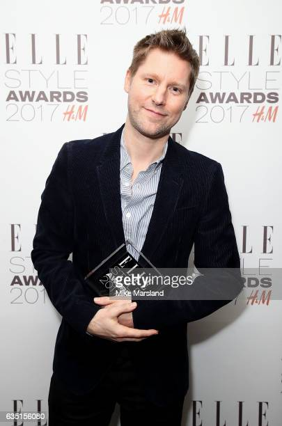 Burberry Chief Creative Director Christopher Bailey poses in the winners room with the British Brand of The Year Award at the Elle Style Awards 2017...