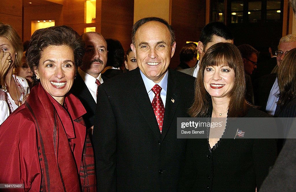 Burberry's Mrs Bravo With The Mayor And His Friend, Burberry Plays Host To Rudolph Giuliani & His Party, Burberry, Bond Street, London.