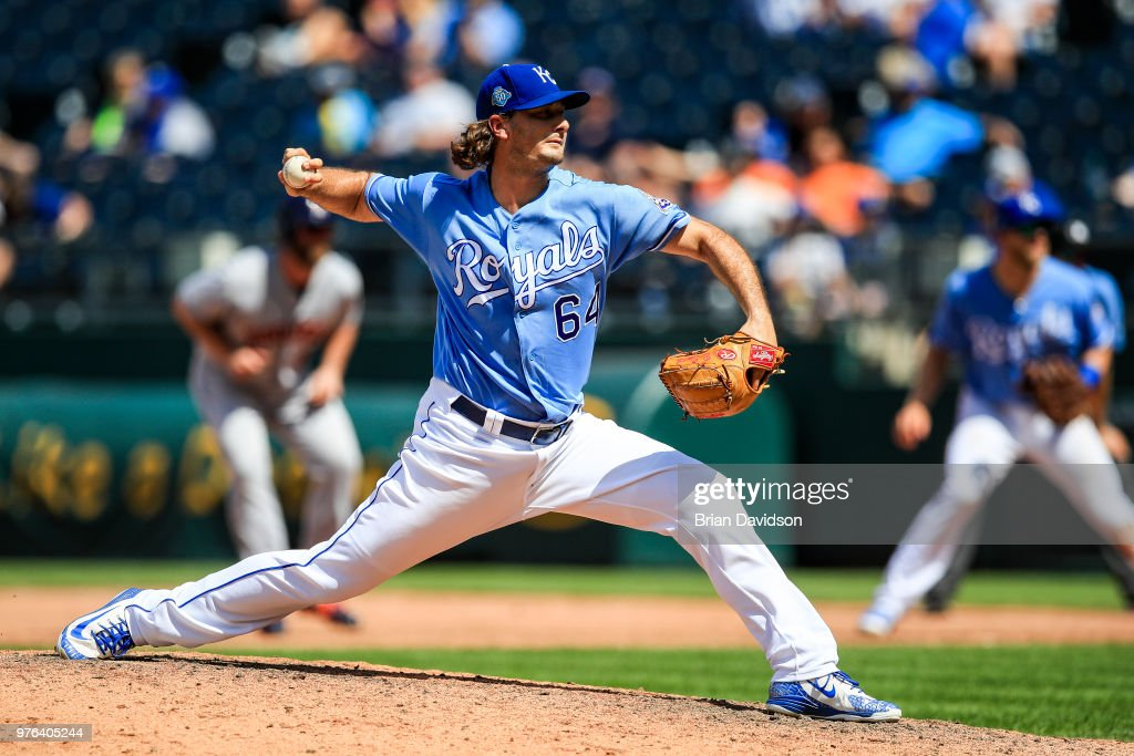 Burch Smith #64 of the Kansas City Royals pitches against the Houston Astros during the ninth inning at Kauffman Stadium on June 16, 2018 in Kansas City, Missouri.