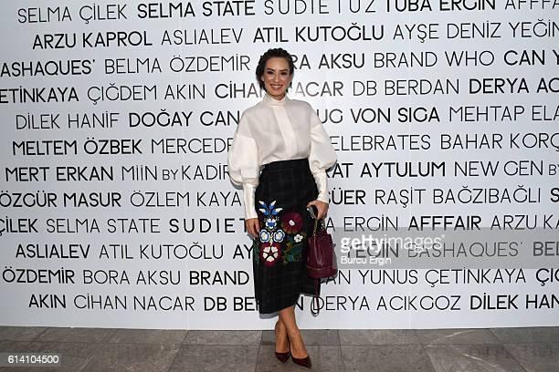 Burcin Unaldi arrives for MercedesBenz Fashion Week Istanbul at Zorlu Center on October 12 2016 in Istanbul Turkey