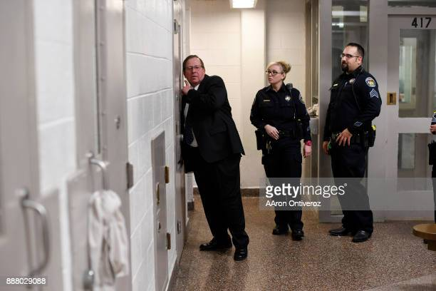 Bureau detention chief Jeff Teschner speaks to three inmates who are sharing a twoman cell at the Pueblo County Detention Center on Wednesday...