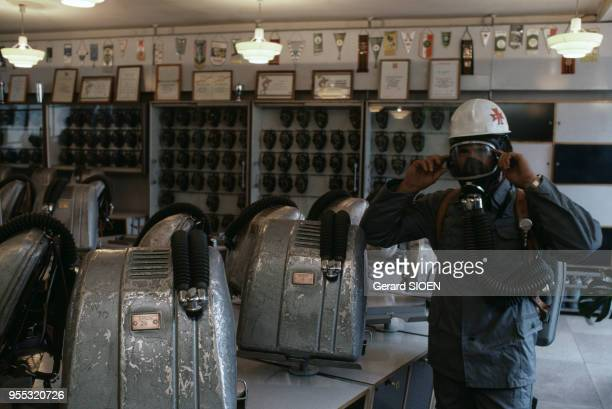 Bureau du service de la sécurité dans l'usine de charbon de Staszic à Katowice en octobre 1985 Pologne