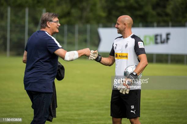 Bureau Member Hans Meyer and Steffen Krebs are seen during the Borussia Moenchengladbach Training Camp on July 19, 2019 in Rottach-Egern, Germany.