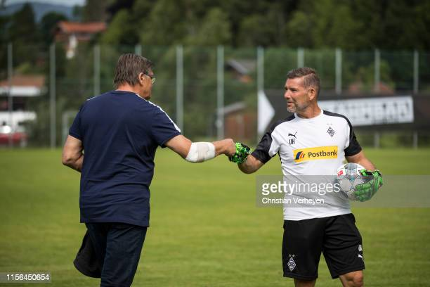 Bureau Member Hans Meyer and Uwe Kamps are seen during the Borussia Moenchengladbach Training Camp on July 19, 2019 in Rottach-Egern, Germany.