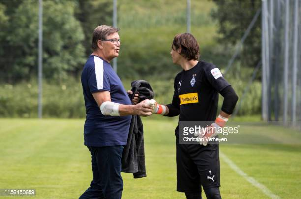 Bureau Member Hans Meyer and Yann Sommer are seen during the Borussia Moenchengladbach Training Camp on July 19, 2019 in Rottach-Egern, Germany.