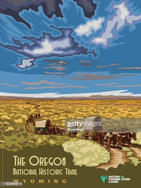 Bureau of Land Management poster, promoting the National Conservation Lands, depicts 'The Oregon National Historical Trail,' Wyoming, 2016.