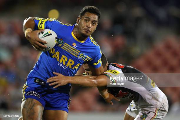 Bureta Faraimo of the Eels is tackled during the NRL Trial match between the Penrith Panthers and Parramatta Eels at Pepper Stadium on February 18...