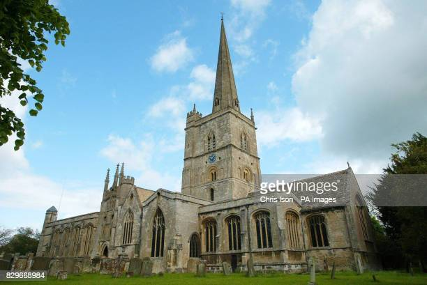Burford Parish Church near Oxford Saturday June 4 where Prince William was the usher for today's wedding of his friends Hugh Van Cutsem and Rose Astor