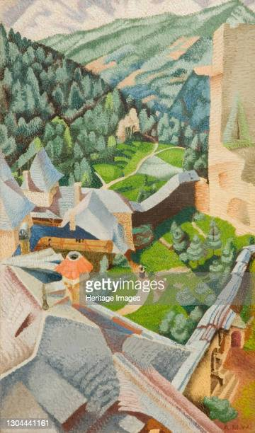 Burg, Finstergrun, 1940. Finstergrun Castle is a castle in the state of Salzburg, Austria. Artist Audrey Weber.
