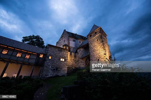 Burg Gutenberg is captured during blue hour on August 05 2016 in Balzers Liechtenstein Steinmeier travels to Liechtenstein for the meeting with the...