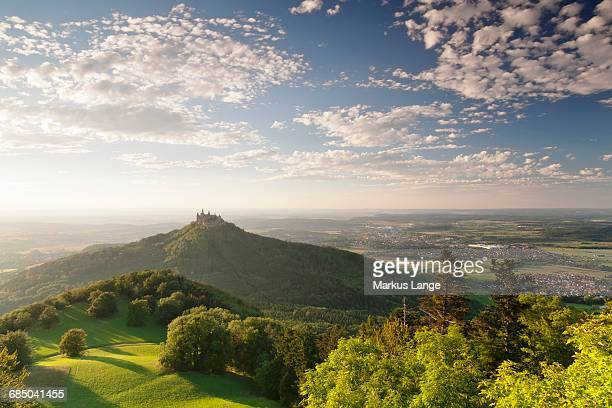 Burg Hohenzollern Castle at sunset, Swabian Alps, Baden-Wuerttemberg, Germany