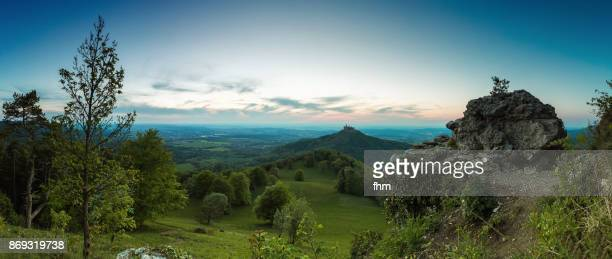burg hohenzollern (hohenzollern castle) - panorama at sunset (baden-württemberg/ germany) - baden württemberg stock pictures, royalty-free photos & images