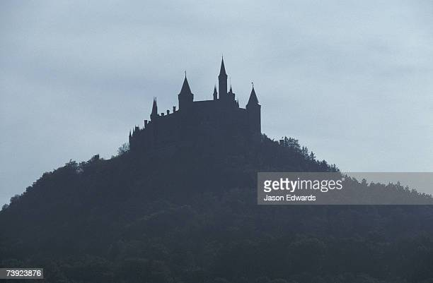 Burg Hohenzollern Castle 1850-1867, rests on a moutain top in Bavaria.