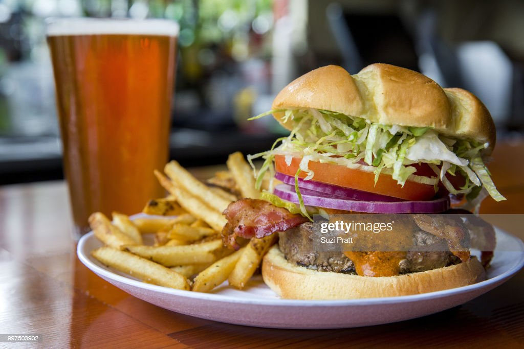 Burger and a Beer : Stock Photo