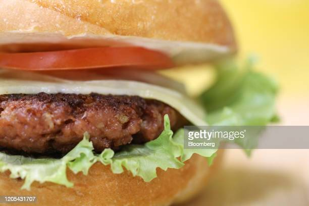 A burger containing a plantbased patty stands on display at the Greenwise LLC plant in Maloyaroslavets Russia on Friday Feb 28 2020 Awareness of...