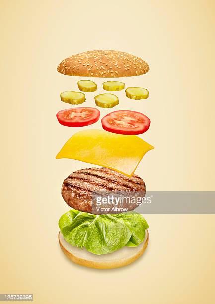 Burger ingredients floating