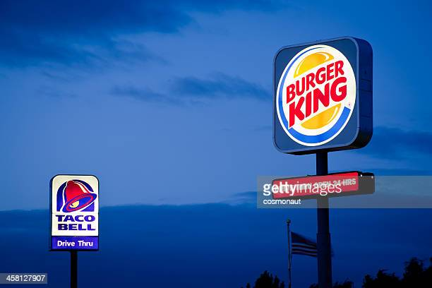 burger king and taco bell signs - burger king stock pictures, royalty-free photos & images