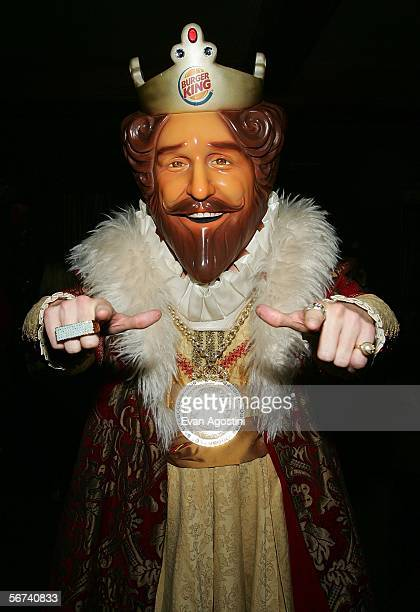 "Burger King mascot, The King poses in the green room during the ""Jimmy Kimmel Live"" Show at Super Bowl XL February 3, 2006 at the Gem Theatre in..."