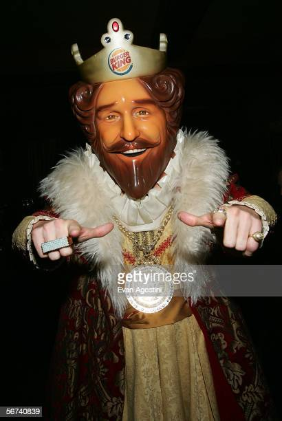 Burger King mascot The King poses in the green room during the 'Jimmy Kimmel Live' Show at Super Bowl XL February 3 2006 at the Gem Theatre in...