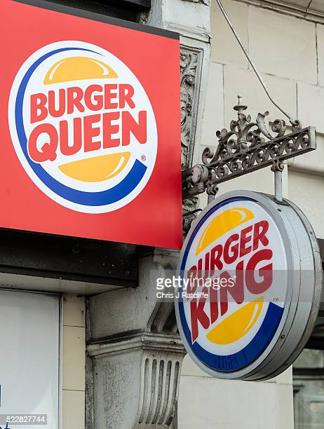 Burger King restaurant has changed its name to 'Burger Queen' for the day to mark the 90th birthday of Queen Elizabeth II at Tottenham Court Road on...