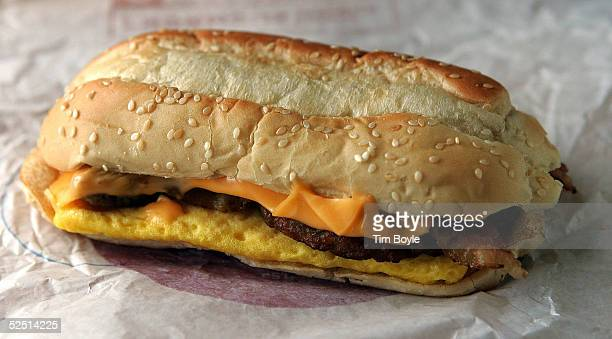 """Burger King's new """"Enormous Omelet Sandwich"""" is sits on a table March 31, 2005 in Des Plaines, Illinois. The new """"Enormous Omelet Sandwich"""" has two..."""