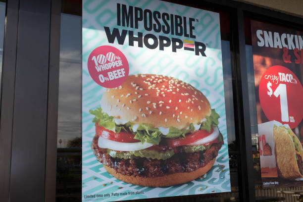Burger King's vegan Impossible Whopper burger is seen in a store in Sunnyvale, California, United States, on Wednesday, November 20, 2019. A vegan...