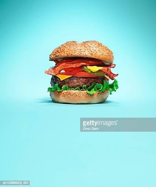 Burger on blue background