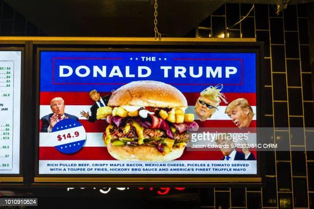 Burger shop advertising a hamburger they named after Donald Trump.