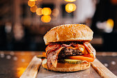 Burger with beef and bacon