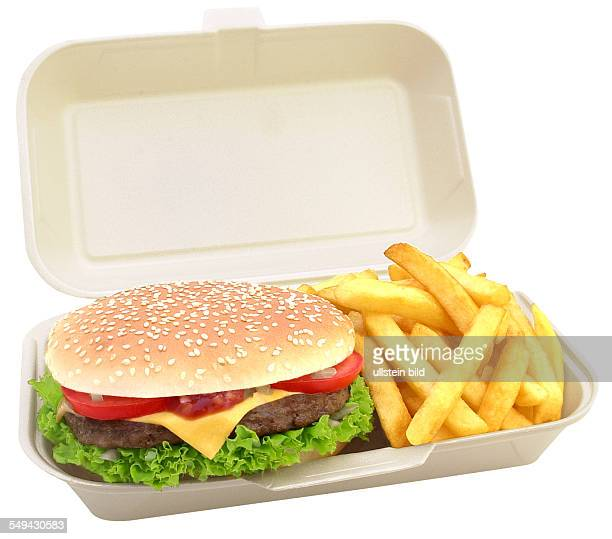 A burger with chips in a plastic box