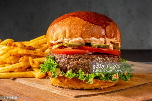 burger with french fries - juicy stock pictures, royalty-free photos & images