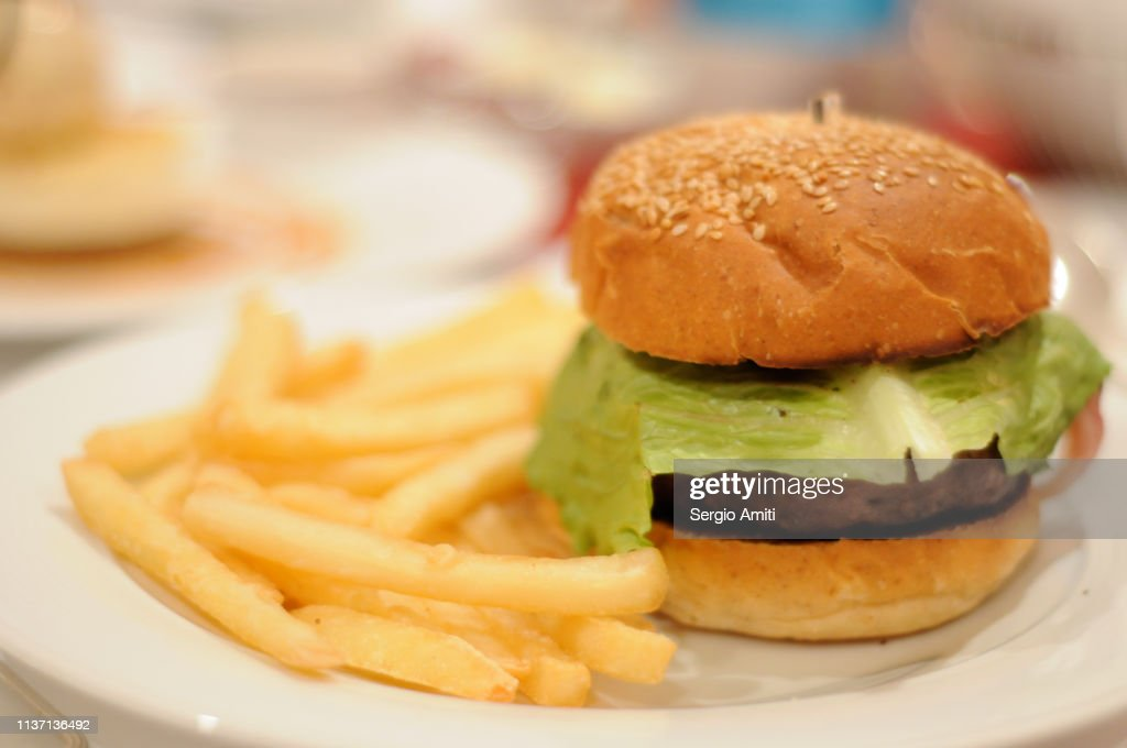 Burger with fries : Stock Photo
