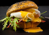 image burger with ham poached egg