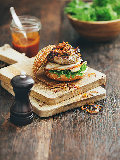 Burger With Lettuce, Tomato, Meat And Fried Onion Wall Art