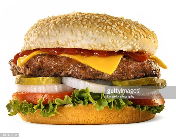 burger with the works, white background - cheeseburger stock pictures, royalty-free photos & images
