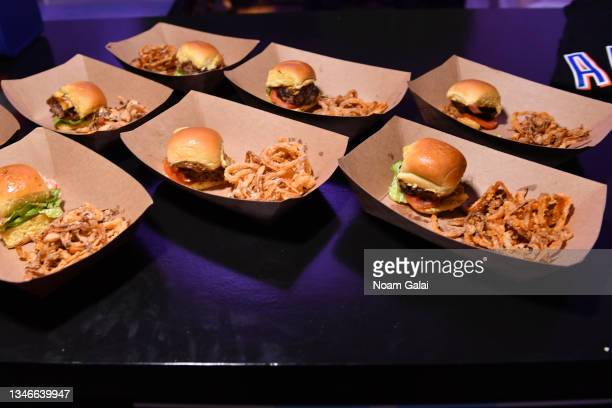 Burgers by New York Mets executive chef Jason Eksterowicz at the Blue Moon Burger Bash presented by Pat LaFrieda Meats hosted by Rachael Ray during...