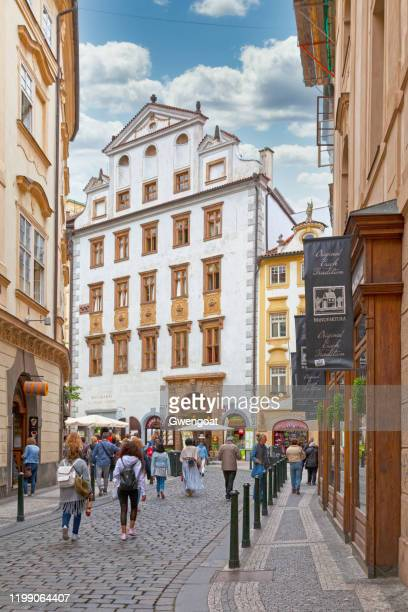 burgher house at the five crowns in prague - gwengoat stock pictures, royalty-free photos & images
