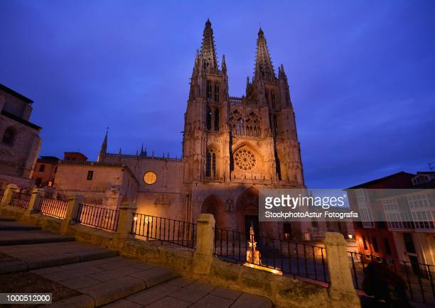 Burgos Cathedral in the dusk light, Spain.