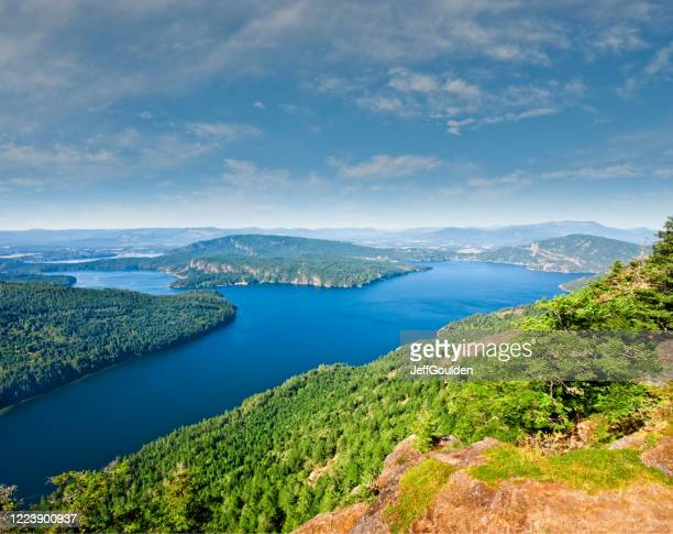burgoyne bay from mount maxwell - jeff goulden stock pictures, royalty-free photos & images