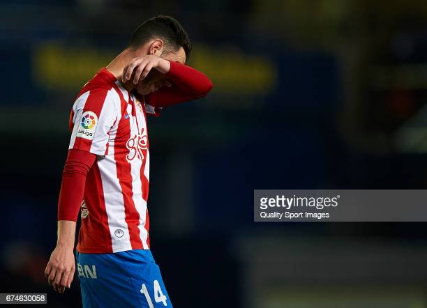 Burgui of Real Sporting de Gijon reacts during the La Liga match between Villarreal CF and Real Sporting de Gijon at Estadio de la Ceramica on April...