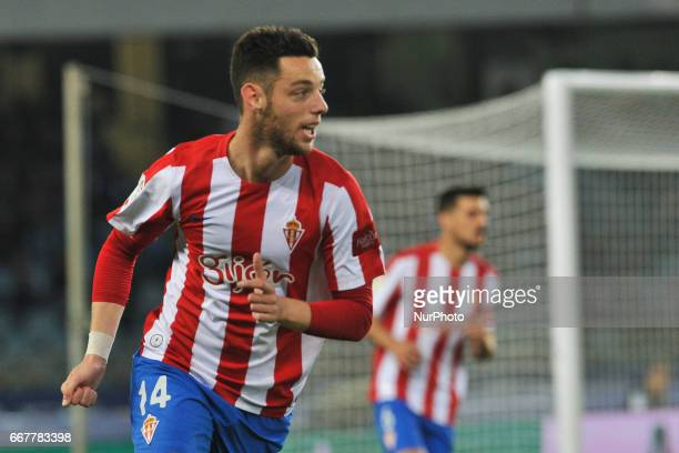 Burgui of Sporting Gijon during the Spanish league football match between Real Sociedad and Sporting Gijon at the Anoeta Stadium in San Sebastian on...