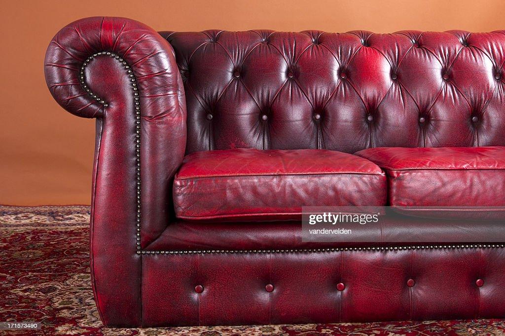 Burgundy Chesterfield Sofa : Stock Photo