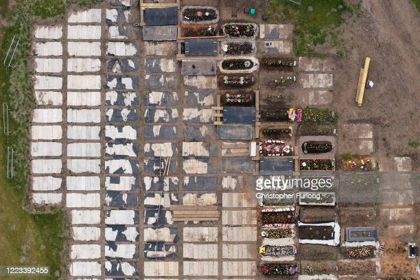Burial chambers are prepared for future use at Sutton New Hall Cemetery during the coronavirus pandemic on May 07, 2020 in Birmingham, United...