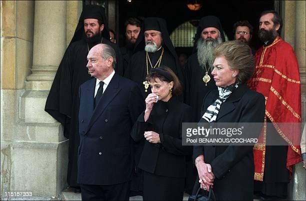 Burial of Olga of Greece in Paris France on October 23 1997 Royal Family of Yugoslavia prince Alexandre princess Elisabeth and Barbara